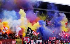 Red Star Belgrade football club fans (Marakana Stadium in Belgrade, Serbia)