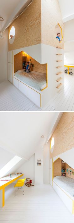 Modern kids room looks cool and European. Almost too stark though. >>This modern kids bedroom features a custom designed wood bunk bed, each with their own desk and side of the room, and a lofted playroom. Modern Kids Bedroom, Modern Bunk Beds, Kids Bedroom Furniture, Wood Bedroom, Furniture Design, Furniture Ideas, Loft Bedroom Kids, Bedroom Decor, Bedroom Ideas