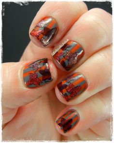 A Girl and Her Polish: The Nail Challenge Collaborative Presents: Stripes - Autumn Stripes and Leaves and a Glam My Mani Review