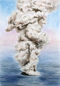 Submarine eruptions - the birth of the island of Surtsey in Iceland in November 1963. Watercolor by Jana Haasová