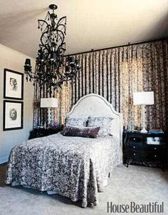 If you can't figure out where to place your bed (too many windows and doors), cover an entire wall with draperies for an uninterrupted wall of fabric. It becomes a beautiful backdrop. #homedecor #bedrooms