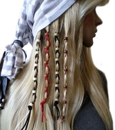 Multi-Color Beads Leather Hair Ties Wraps Hair Jewelry Suede Leather | gingasgalleria - Accessories on ArtFire