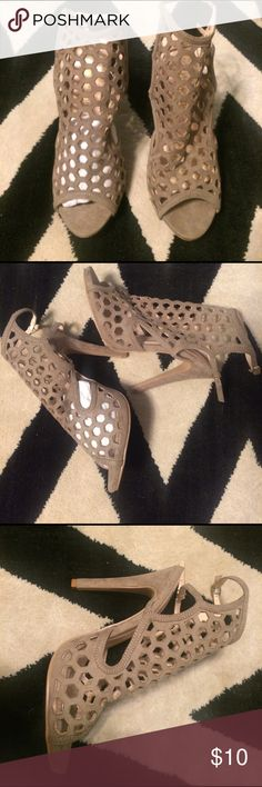 Taupe Cathy Jean Cut Out Heels Size 7.5! Never worn. My friend gave them to me but they are a size too small. I think they're super cute, I wish they fit! Cathy Jean Shoes Heels