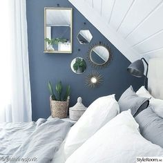 White and steel blue combine for a surprisingly light and airy Nordic style bedr., White and steel blue combine for a surprisingly light and airy Nordic style bedroom. The mirrors add interest to an award section of wall space while . Navy Blue Bedrooms, Blue Bedroom Decor, Bedroom Wall Colors, Blue Rooms, Bedroom Vintage, Home Bedroom, Modern Bedroom, Nordic Bedroom, Blue Feature Wall Bedroom