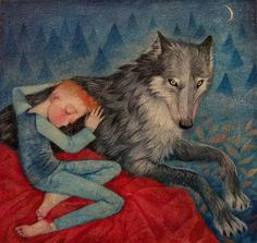 Lucy Campbell is a contemporary Scottish painter whose work contains elements of maigcal realism as well as mythic and folk symbolism. Drawing Painting Images, Sleeping Wolf, Night Sea, Wolf Illustration, Wild Wolf, Animal Totems, Illustrations, Dark Horse, Whimsical Art