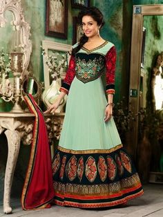 Light Blue Georgette Anarkali Suit With Heavy Embroidery Work www.saree.com
