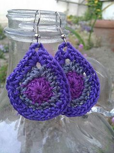 purple tear drop crocheted earrings by royaboya on Etsy, $14.00