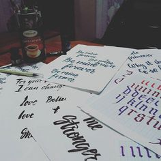 There is always CHAOS on my table)) #calligraphy #sketches #lettering #brushpen #chaos