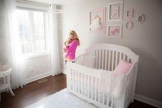 """Gray walls in baby girl's nursery - Benjamin Moore Natura in """"Barren Plain"""""""