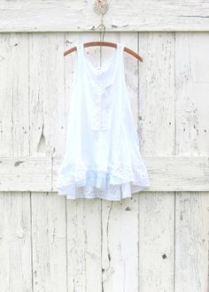 White Free People Tank Tunic  Size L Upcycled by wearlovenow, $54.00