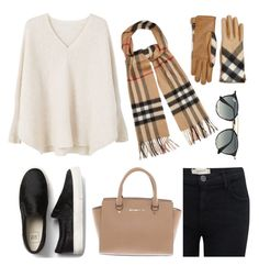 """cashmere"" by lissxmoreno on Polyvore featuring Current/Elliott, MANGO, Burberry, Michael Kors and Ray-Ban"
