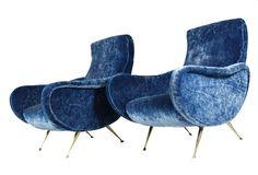 Italian Blue Velvet Pair of Armchairs Flexform, 1950s