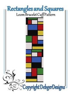 Rectangles and Squares-Loom Bracelet Cuff Pattern | DebgerDesigns - Patterns on ArtFire