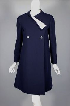 SOLD Geoffrey Beene 1960s navy wool & white silk coat dress, size small
