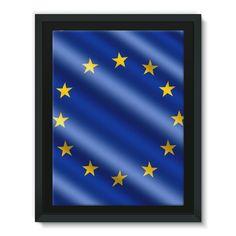 Waving EU European Flag Framed Canvas