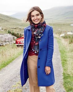 Andreea Diaconu with chic overcoats, cozy sweaters as well as tailored trousers for lookbook Photoshoot