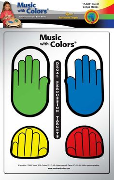 MUSIC WITH COLORS: Percussion Hands Adult Hands Decals - Percussion target decals, with color-coded lesson book and demo DVD. Use on drums for practice.