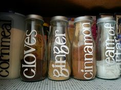 Turn starbucks bottles into spice jars with metallic spray paint for the lids, some adhesive vinyl and a Cricut!