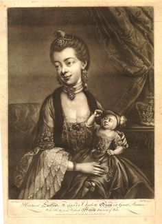 Hoping the first official image of Kate with the #royalbaby doesn't come out quite like this print of Queen Charlotte and the future George IV