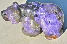 Carved Charoite Russian bear from Siberia