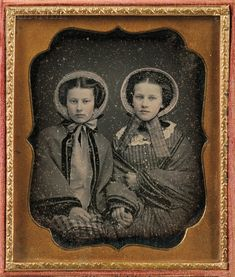 Two Daguerreotypes:      American School, 19th Century, Sixth-plate Daguerreotype of Two Girls with Bonnets