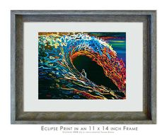 Wave Print // Abstract Ocean Art titled  Eclipse by printsandpaint