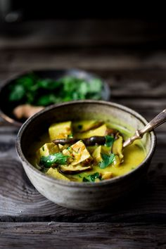 Turmeric Tofu Curry with Coconut and Shiitakes, a quick vegan and gluten free meal with detoxing turmeric. Can be made in 20 minutes! | www.feastingathome.com