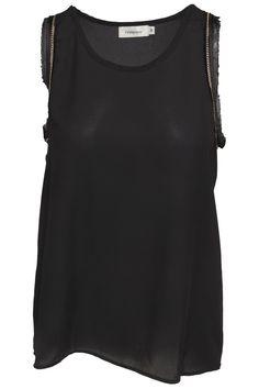 4190dcd83c9b Féminine sort top med kæde