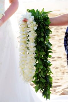 White Double Orchid lei & a Polynesian Maile lei
