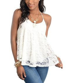 Another great find on #zulily! Ivory Lace Halter Top by Buy in America #zulilyfinds