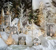 German Glitter Village | Pottery Barn - LOVE this look but I think this will be my Do It Yourself decoration this year.  Michaels, here I come!