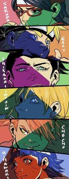 Sarada <3 Boruto<3 Shikaida<3 Inojin<3 ChouChou<3 Himawari<3