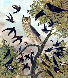 owl and birds illustration Owl Art, Bird Art, Sticks And Stones, Naive Art, Beautiful Birds, Beautiful Images, Amazing Art, Sculptures, Illustration Art