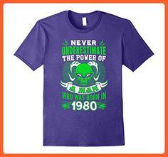 Mens Born In 1980 T-Shirt. 37th Birthday Ideas for Men. Best Gift Large Purple - Birthday shirts (*Partner-Link)