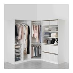 IKEA - PAX, Wardrobe, 196/196x60x201 cm, , 10-year Limited Warranty. Read about the terms in the Limited Warranty brochure.You can easily adapt this ready-made PAX/KOMPLEMENT combination to suit your needs and taste using the PAX planning tool.If you want to organize inside you can complement with interior organizers from the KOMPLEMENT series.Adjustable feet make it possible to compensate for any irregularities in the floor.