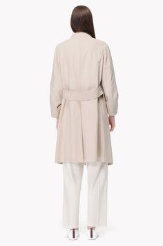 Wide strap open coat