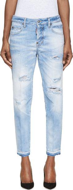 Dsquared2 Blue Light Wash Distressed Linda Jeans