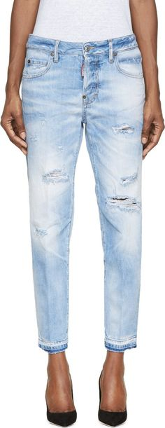 Dsquared2 Blue Light Wash Distressed Linda Jeans