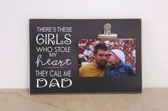 Father's Day Gift For Dad, Custom Picture Frame, Personalized Photo Frame {There's These Girls Stole My Heart} Dad's Birthday Gift Grandpa Birthday, Ring Bearer Gifts, Personalized Photo Frames, Great Gifts For Dad, Call My Dad, Christmas Gift For Dad, These Girls, Fathers Day Gifts, Picture Frames