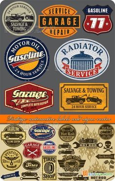 Vintage automotive labels and signs vector » Bestgfx - Heaven of design