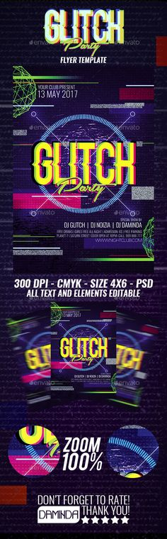 Glitch Party Flyer Template PSD
