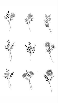Tiny Tattoos For Girls, Cute Tiny Tattoos, Small Flower Tattoos, Dainty Tattoos, Small Tattoos, Tattoos For Women, Cool Tattoos, Simple Flower Tattoo, Flower Tattoo Drawings