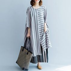 new gray striped linen dresses asymmetric patchwork o neck dress – SooLinen Long Linen Dresses, Baggy Dresses, Cotton Long Dress, Nice Dresses, Summer Dresses, Linen Dress Pattern, Caftan Dress, Striped Linen, Outfit
