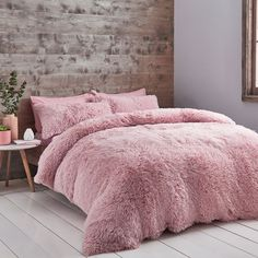 Catherine Lansfield Cuddly Deep Pile Shaggy Faux Fur Fleece Duvet Cover Set, Blush, King