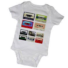 CASSETTE clásicas cintas bebé bodies Tees Rock and Roll por EmbryLu