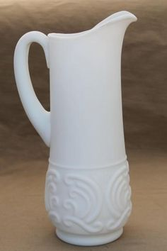 vintage Portieux Vallerysthal milk glass pitcher, tall ewer in white satin glass