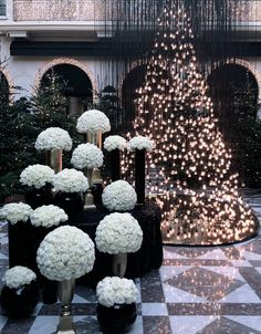 Festive florals at Hotel George V, Paris.