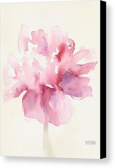 Pink Peony Watercolor Paintings Of Flowers Canvas Print by Beverly Brown Prints.  All canvas prints are professionally printed, assembled, and shipped within 3 - 4 business days and delivered ready-to-hang on your wall. Choose from multiple print sizes, border colors, and canvas materials.
