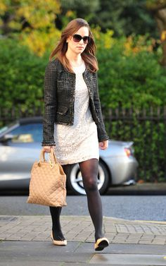 Pippa Middleton in black pantyhose and white lace swirly patterned dress