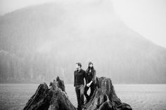 Foggy Engagement Photos at Rattlesnake Lake by ©Ryan Flynn Photography.